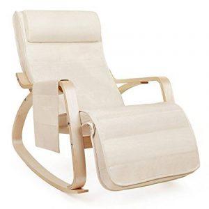 Songmics Fauteuil à bascule Rocking Chair avec Repose-pieds réglable à 5 niveaux design Charge maximum: 150 kg lin beige LYY12M de la marque image 0 produit