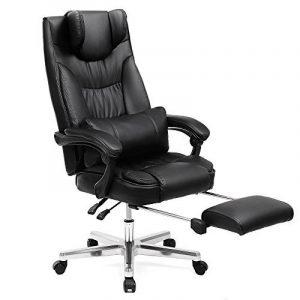 Songmics Fauteuil de bureau avec Appui-tête modulable Repose-pieds télescopique Chaise pivotant Design ergonomique Noir Grande taille OBG75B de la marque image 0 produit