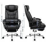 Songmics Fauteuil de bureau avec Appui-tête modulable Repose-pieds télescopique Chaise pivotant Design ergonomique Noir Grande taille OBG75B de la marque image 6 produit