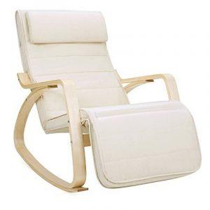 Songmics LYY10M Fauteuil à bascule doté d'un repose-pieds, angle réglable à 5°, charge maximale 150kg, beige de la marque image 0 produit