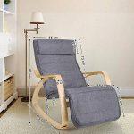 Songmics Rocking Chair Fauteuil à bascule avec Repose-pieds réglable à 5 niveaux design Charge maximum: 150 kg gris lin LYY11G de la marque image 1 produit