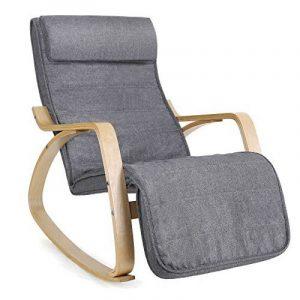 Songmics Rocking Chair Fauteuil à bascule avec Repose-pieds réglable à 5 niveaux design Charge maximum: 150 kg gris lin LYY11G de la marque Songmics image 0 produit