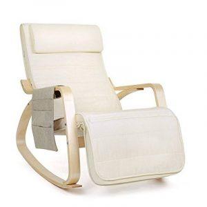 Songmics Rocking Chair Fauteuil à bascule avec Repose-pieds réglable design Charge maximum: 150 kg beige LYY01M de la marque image 0 produit