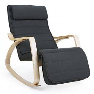 Songmics Rocking Chair Fauteuil Bascule avec Repose-pieds réglable à 5 niveaux design Charge maximum: 150 kg gris LYY10G de la marque image 0 produit