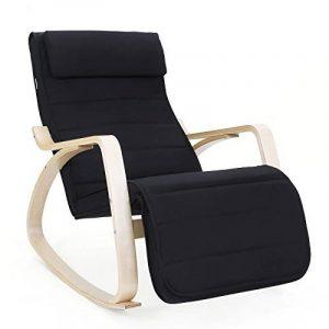 Songmics Rocking Chair Fauteuil Bascule avec Repose-pieds réglable à 5 niveaux design Charge maximum: 150 kg noir LYY10B de la marque image 0 produit