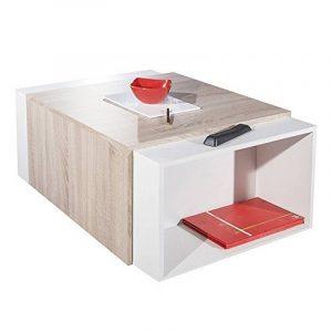 Symbiosis 2066A0300X00 Contemporain Table Basse Modulable Blanc/Chêne Naturel 120 x 67 x 38,1 cm de la marque image 0 produit