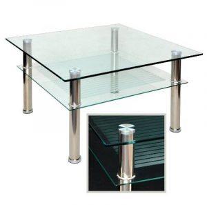 Table basse à plateau en verre 80 x 80 cm-table d'appoint en acier inoxydable et verre de sécurité eSG 10 mm de la marque ts-ideen image 0 produit