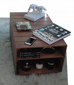 TABLE BASSE en BOIS 2 Compartiments, sur Roulettes, Style Caisse Vintage, Pin Massif Nordique - LIZA – 51 x 83 x 40 cm (Marron Noyer) de la marque LIZA image 0 produit