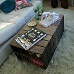 TABLE BASSE en BOIS 2 Compartiments, sur Roulettes, Style Caisse Vintage, Pin Massif Nordique - LIZA – 51 x 83 x 40 cm (Taupe) de la marque LIZA image 4 produit