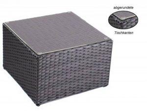Table d'appoint en alu avec plaque en plexiglas,4 x pieds ajustables (usable comme tabouret (90 kg) sans plaque en plexiglas)pour combinaison avec chaise longue en rotin, salon en poly-rotin d'une très bonne qualité, matériau : aluminium avec de image 0 produit