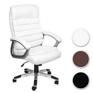 TecTake Chaise de bureau fauteuil de direction hauteur réglable | simili cuir | design ondulé | diverses couleurs au choix (blanc | no. 402151) de la marque image 0 produit