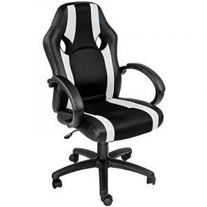 TecTake Chaise de bureau fauteuil siège racing sport tissu noir blanc de la marque image 0 produit