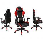 TecTake Chaise fauteuil siège de bureau racing sport ergonomique avec support lombaire et coussin noir rouge blanc de la marque image 1 produit