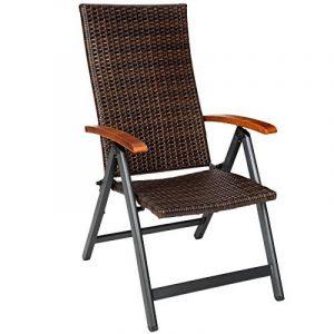 TecTake Fauteuil pliable en aluminium et poly rotin chaise multi-positions terrasse jardin (LxlxH) : 68 x 59 x 119 cm de la marque image 0 produit