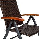 TecTake Fauteuil pliable en aluminium et poly rotin chaise multi-positions terrasse jardin (LxlxH) : 68 x 59 x 119 cm de la marque image 3 produit