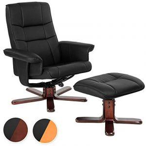 TecTake Fauteuil relax TV pour la détente avec pouf en simili-cuir avec pied en bois - diverses modèles - (Pieds: Bois / laqué brun foncé (No. 401438)) de la marque image 0 produit