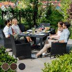TecTake Salon de jardin en aluminium résine tressée poly rotin table | 8 fauteuils | Deux set de housses + habillage pluie inclus | vis en acier inoxydable | -diverses couleurs au choix- (Marron | No. 401162) de la marque image 2 produit