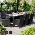 TecTake Salon de jardin en aluminium résine tressée poly rotin table | 8 fauteuils | Deux set de housses + habillage pluie inclus | vis en acier inoxydable | -diverses couleurs au choix- (Marron | No. 401162) de la marque image 3 produit