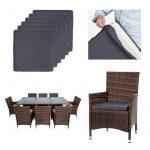 TecTake Salon de jardin en aluminium résine tressée poly rotin table | 8 fauteuils | Deux set de housses + habillage pluie inclus | vis en acier inoxydable | -diverses couleurs au choix- (Marron | No. 401162) de la marque image 5 produit