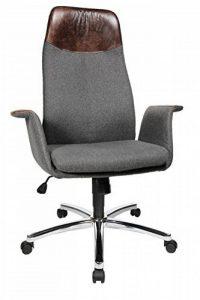 Topstar 7969lL528Retro Housse de Fauteuil Chaise de bureau Air ailes Lounge Salon avec Aaccoudoirs, revêtement en tissu/laine, gris, tête et accoudoirs en édition vintage en cuir véritable, marron de la marque image 0 produit
