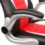 TRESKO® Chaise Fauteuil Siège de bureau racing sport, 4 couleurs différentes, accoudoirs rembourrés + relevables, mécanisme de basculement, réglable en hauteur (Noir / Blanc / Rouge) de la marque image 5 produit