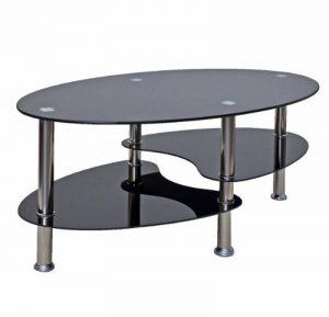 Ts-ideen table d'appoint noir table basse ovale en acier inoxydable avec verre de sécurité trempé 8 mm de la marque image 0 produit