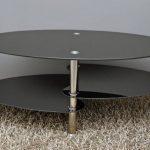 Ts-ideen table d'appoint noir table basse ovale en acier inoxydable avec verre de sécurité trempé 8 mm de la marque image 1 produit