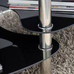 Ts-ideen table d'appoint noir table basse ovale en acier inoxydable avec verre de sécurité trempé 8 mm de la marque image 2 produit