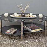 Ts-ideen table d'appoint noir table basse ovale en acier inoxydable avec verre de sécurité trempé 8 mm de la marque image 5 produit