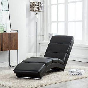 UEnjoy Chaise longue fauteuil lounge en similicuir noir de la marque image 0 produit