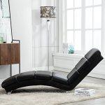 UEnjoy Chaise longue fauteuil lounge en similicuir noir de la marque image 1 produit