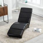 UEnjoy Chaise longue fauteuil lounge en similicuir noir de la marque image 2 produit