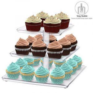 Utenlid Acrylique à 3étages Présentoir à gâteaux de fête Stacked carré avec bordures et stable à visser piliers–Hiérarchisé support à cupcake/cupcake Tour de la marque image 0 produit