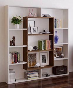 VENUS Bibliothèque - Blanc / Noyer - Étagère de Rangement - Étagère pour livres - Étagère pour bureau / salon par le design moderne de la marque image 0 produit