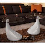 vidaXL Lot de 2 tables basses salon en verre blanche brillante de la marque image 1 produit