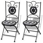 vidaXL Set de bistro mosaïqué table 60 cm et 2 chaises noir/blanc de la marque image 2 produit