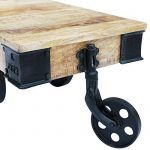 vidaXL Table basse avec roues de salon Bois de manguier brut Meuble de rangement de la marque image 6 produit