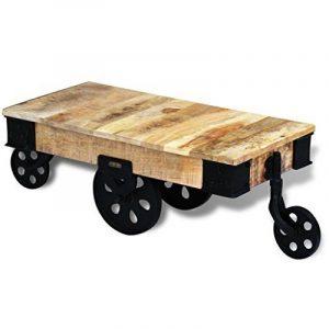 vidaXL Table basse avec roues de salon Bois de manguier brut Meuble de rangement de la marque vidaXL image 0 produit
