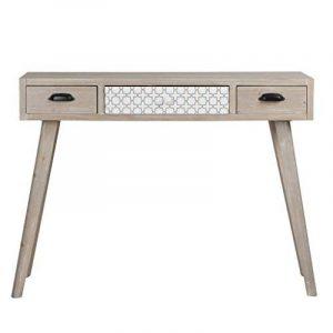 VIVA HOME Table console en bois, 105 x 36 x 80 cm, Table d'appoint de dessin rustique, avec 3 différents tiroirs, Couleur marron claire de la marque VIVA HOME image 0 produit