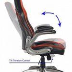 Vive Office Chaise ergonomique avec dossier haut, multicolore, en cuir naturel régénéré, en style voiture de course, avec des accoudoirs rembourrés et réglables, Rouge / Noir de la marque Viva Office image 4 produit