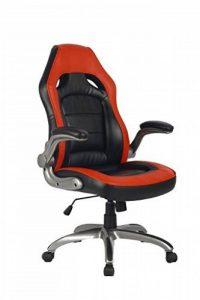 Vive Office Chaise ergonomique avec dossier haut, multicolore, en cuir naturel régénéré, en style voiture de course, avec des accoudoirs rembourrés et réglables, Rouge / Noir de la marque Viva Office image 0 produit