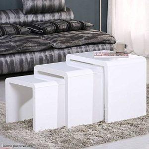 Voilamart Ensemble de 3tables gigognes en bois laqué blanc, tables basses blanches multifonction, tables d'appoint de salon. de la marque image 0 produit