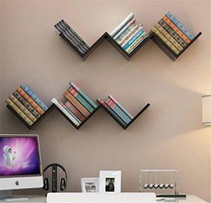 W Forme Etagères murales Bibliothèque Bois salon lounge livres rétro design diverses couleurs au choix (Lot de 2(Noir+Noir)) de la marque image 0 produit