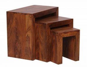 Wohnling WL1.205 Sheesham Lot de 3 tables gigognes en bois de la marque image 0 produit
