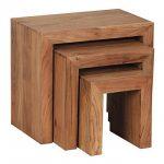 Wohnling wl1.440Ensemble de 3tables gigognes Tables d'appoint en bois d'acacia massif de la marque image 3 produit
