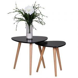 Wohnling wl1.702Retro Set de table, 2pièces, scanio MDF, noir mat de la marque image 0 produit