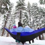 XL Parachutes Hamac Camping Portable dans un sac utilisé pour la randonnée, les voyages, ½ tonne de très grande capacité(320 x 200 cm), léger, séchage rapide lit double 2 personnes sangles d'arbres hamac, mousquetons, ancres et corde de la marque image 5 produit